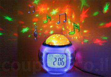 מוצר חובה לחדר הילדים! שעון מקרןהמשמיע מוזיקה מרגיעהומקרין תצוגת כוכבים מרהיבה על קירות ותקרת החדרב58 ש