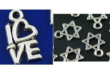 תליון לשרשרת, לצמיד, לעגילים וכו' בצורת מגן דוד, LOVE או טיפ...