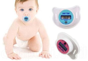 מוצץ מדחום בעל מסך LCD מיוחד לתינוקות! למדידת חום קלה, נוחה ומהירה! ב25 ש