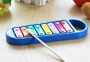 דיל מדליק לילדים כישרוניים! קסילופון בעל 8 קלידים צבעוניים המפיקים צלילים עשירים ומיוחדים ב49 ש