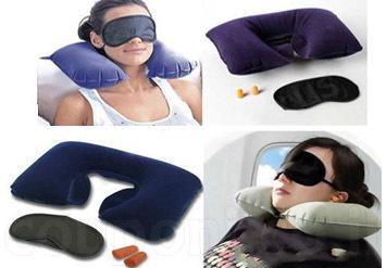 סט מושלם לטיסות, לנסיעות, לרכב או סתם לשימוש בבית! כרית צוואר + כיסוי עיניים + אטמי אוזניים ב49 ש