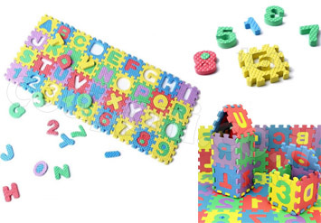 פאזל לגו המורכב מ36 חלקים שהם גם קוביות בנייה צבעוניות עם מספרים ואותיות ב29 ש
