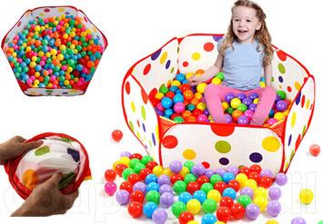 בריכת כדורים מגניבה, צבעונית ומהנה במיוחד לילדים! כולל 50 כד...