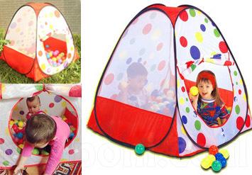 אוהל כדורים צבעוני, איכותי ומהנה לילדים! כולל 100 כדורים צבעוניים מפלסטיק רך! לשימוש בבית או בחוץ ב79 ש
