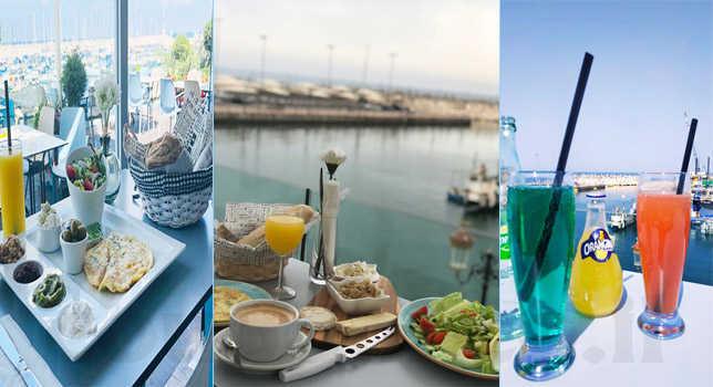 ארוחת בוקר זוגית מול נוף מרהיב של המרינה באשקלון במסעדת לה פ...