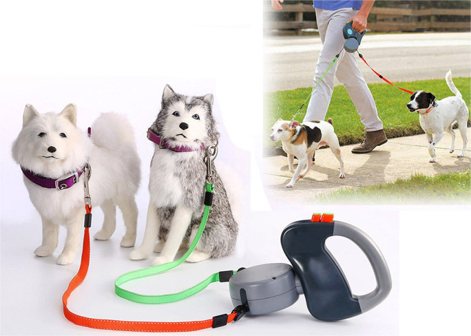 לטייל עם הכלבים בנוחות ובקלות! רצועה נמתחת מתפצלת להולכת 2 כלבים עם חזרה אוטומטית ב199 ש