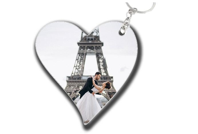 2 מחזיקי מפתחות בעיצוב אישי בצורת לב / מלבן עם תמונה והקדשה ...