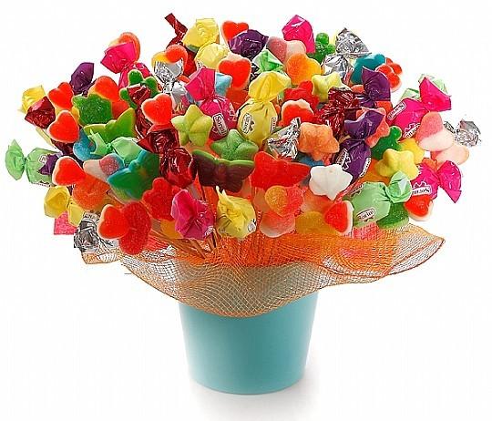 זר ממתקים מתוקים בשפע צבעים לכבוד ט