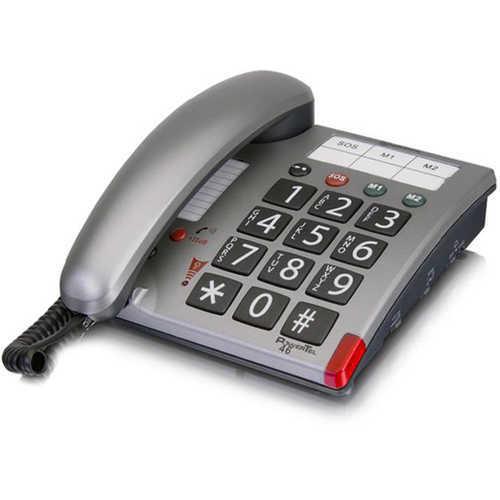 טלפון מוגבר לשימוש מבוגרים וכבדי שמיעה, לחצנים גדולים, כפתור...