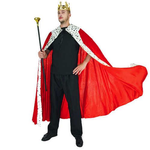 תחפושת מלך איכותית למבוגרים הכוללת גלימה, כתר ושרביט ב119 ש