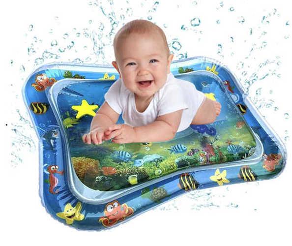 מזרון מים לתינוקות, משחק מים מתנפח עם דגים להנאה והתפתחות הת...